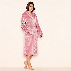 Lounge & Sleep - Dark rose fleece dressing gown