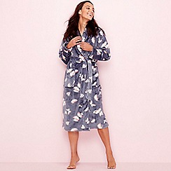 Lounge & Sleep - Grey butterfly print fleecelong sleevedressing gown