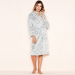 Lounge & Sleep - Grey zebra embossed fleece robe