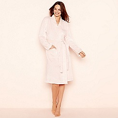 Lounge & Sleep - Pink spot embossed fleece long sleeve dressing gown