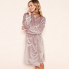 Lounge & Sleep - Taupe spot embossed fleece long sleeve dressing gown