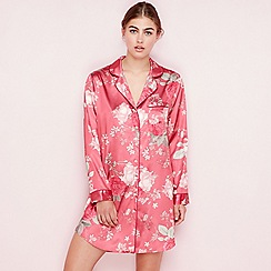 The Collection - Dark pink floral print satin 'Elegant' long sleeve nightshirt