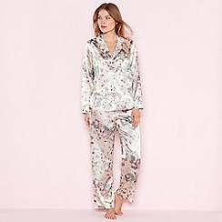 The Collection - Cream floral print satin 'Elegant' long sleeve pyjama set