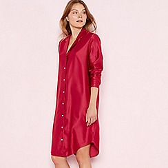 The Collection - Dark pink satin 'Elegant' long sleeve nightshirt