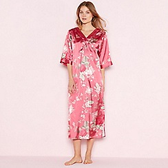 The Collection - Dark pink floral print satin 'Elegant' short sleeve nightdress