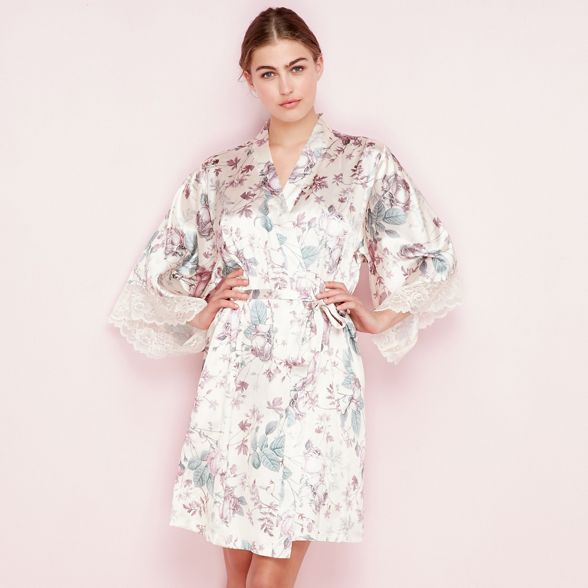 print \'Elegant\' The satin dressing gown Cream floral Collection ...