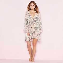 The Collection - Cream floral print 'Elegant' chiffon robe
