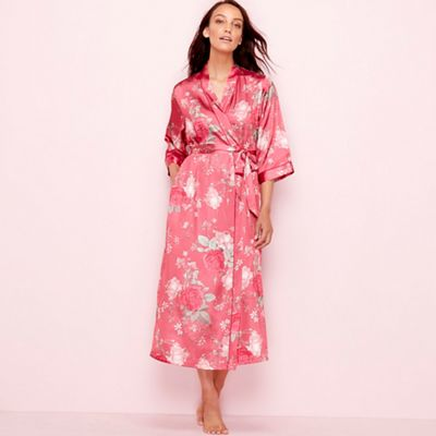 The Collection Pink floral print satin 3 4 length sleeve dressing gown  91a9356cf