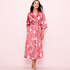 The Collection - Pink floral print satin 3/4 length sleeve dressing gown