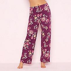 Gorgeous DD+ - Purple floral print 'Oasis' pyjama bottoms