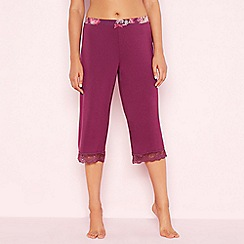 Gorgeous DD+ - Purple lace trim 'Oasis' cropped pyjama bottoms