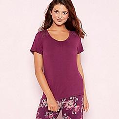 Gorgeous DD+ - Purple lace trim 'Oasis' short sleeve pyjama top