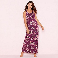 Gorgeous DD+ - Purple floral print 'Oasis' full length maxi nightdress