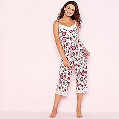 Gorgeous DD+ - Cream floral print 'Oasis' pyjama set