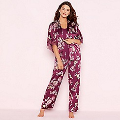 Gorgeous DD+ - Purple floral print 'Oasis' satin pyjama set
