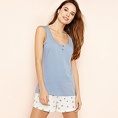 Lounge & Sleep - Pale blue spot print pure cotton pyjama set