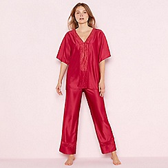 The Collection - Dark pink satin lace 'Elegant' short sleeve pyjama set