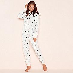 Lounge & Sleep - White polka dot print onesie