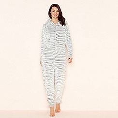 Lounge & Sleep - Grey embossed zebra long sleeve onesie