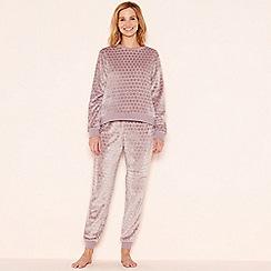 Lounge & Sleep - Taupe embossed fleece loungewear set