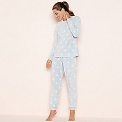 Lounge & Sleep - Light grey star print fleece pyjama set