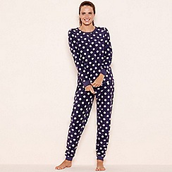 Lounge & Sleep - Purple spot print fleece pyjama set
