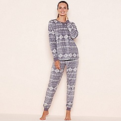 Lounge & Sleep - Dark grey fairisle print fleece pyjama set