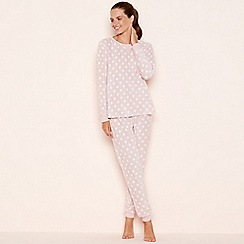 Lounge & Sleep - Pink heart print fleece pyjama set