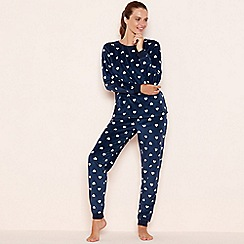 Lounge & Sleep - Navy heart print fleece pyjama set