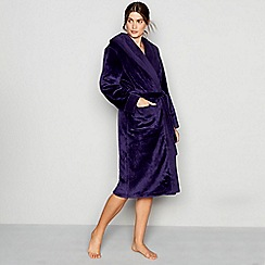 J by Jasper Conran - Dark purple waffle trim dressing gown
