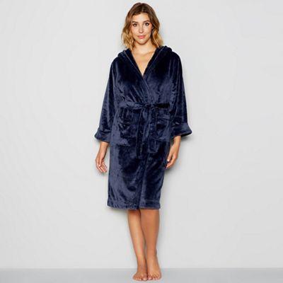 J by Jasper Conran Navy hooded dressing gown | Debenhams