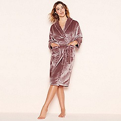 Lounge Sleep Taupe Sleek Fleece Dressing Gown
