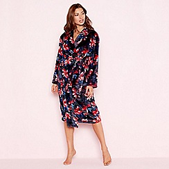 Lounge & Sleep - Navy floral print fleece long sleeve dressing gown