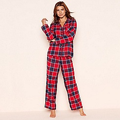 Lounge & Sleep - Red check print cotton pyjama set