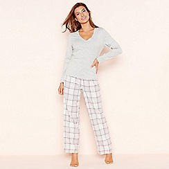 Lounge & Sleep - Grey check print jersey long sleeve pyjama set