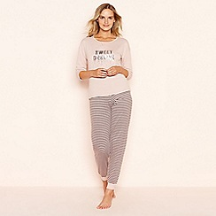 Lounge & Sleep - Pink sequined 'Sweet Dreams' long sleeve pyjama set