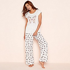 Lounge & Sleep - Cream butterfly cotton jersey pyjama set