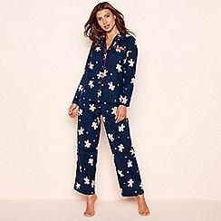 Lounge & Sleep - Navy gingerbread man cotton pyjama set