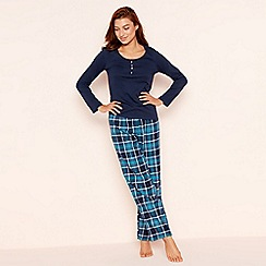 Lounge & Sleep - Tall navy check print jersey long sleeve pyjama set
