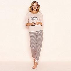Lounge & Sleep - Pink sequinned 'Sweet Dreams' long sleeve petite pyjama set