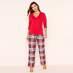 Lounge   Sleep - Tall red check print jersey long sleeve pyjama set cefd14630