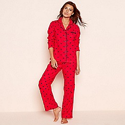 Lounge & Sleep - Petite red star print cotton pyjama set