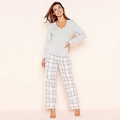 Lounge & Sleep - Petite grey check print jersey long sleeve pyjama set