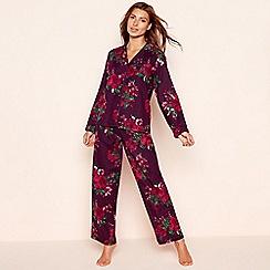Lounge & Sleep - Petite dark purple floral print cotton pyjama set
