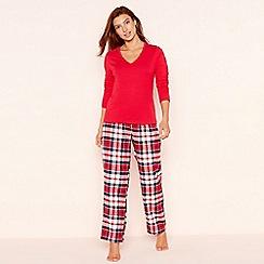 Lounge & Sleep - Petite red check print jersey long sleeve pyjama set
