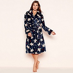 Lounge & Sleep - Navy gingerbread print fleece dressing gown