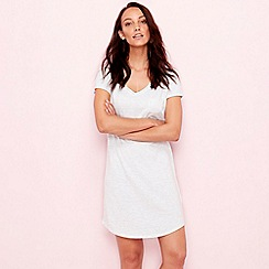 Lounge & Sleep - Grey stripe print cotton short sleeve nightdress