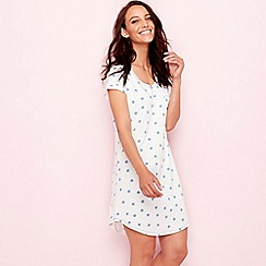 Lounge & Sleep - Blue polka dot print cotton short sleeve nightdress
