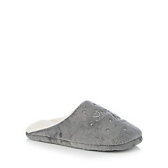 Lounge & Sleep - Grey star embroidered mule slippers