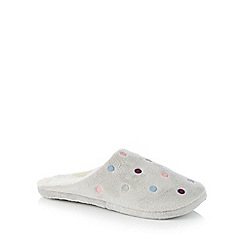 Lounge & Sleep - Grey spot embroidered mule slippers